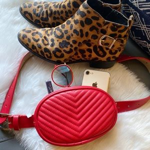 Steve Madden Red Chevron Belt Bag